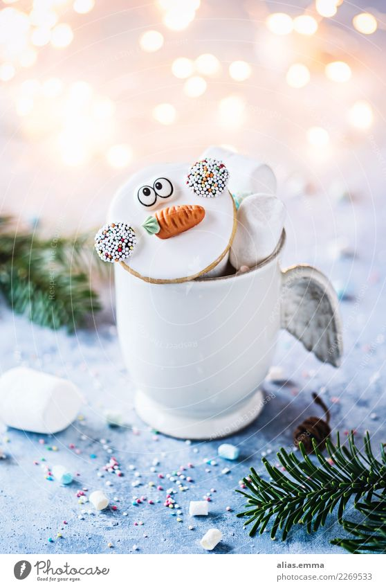 Frosty goes on holiday now frosty Snowman Christmas & Advent Winter Cookie Blur Kitsch Beautiful Sweet Baked goods Baking Christmas biscuit Cup Cozy