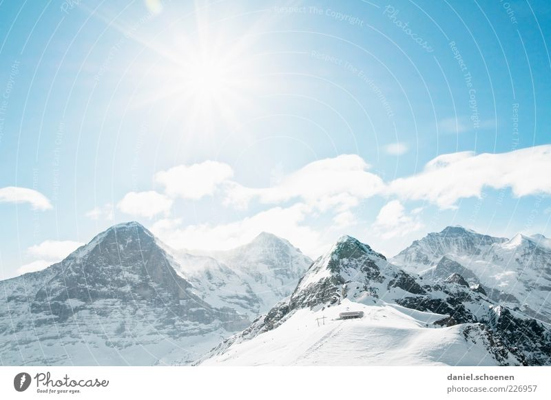 Sky Blue White Sun Vacation & Travel Winter Snow Mountain Landscape Bright Weather Trip Tourism Climate Alps Switzerland