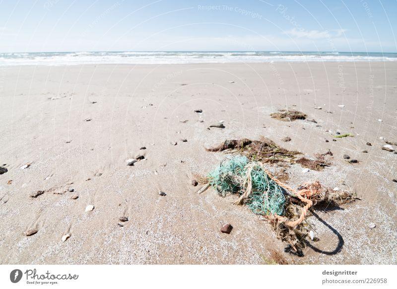 network problem Far-off places Freedom Sand Water Summer Coast Beach North Sea Ocean Lønstrup Denmark Fishing net Rope Net Broken Environmental pollution Trash