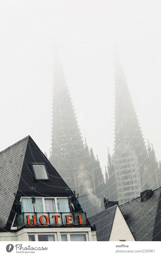 City Winter House (Residential Structure) Fog Characters Church Hotel Skyline Cologne Landmark Dome Tourist Attraction Bad weather Unclear Old town Hazy
