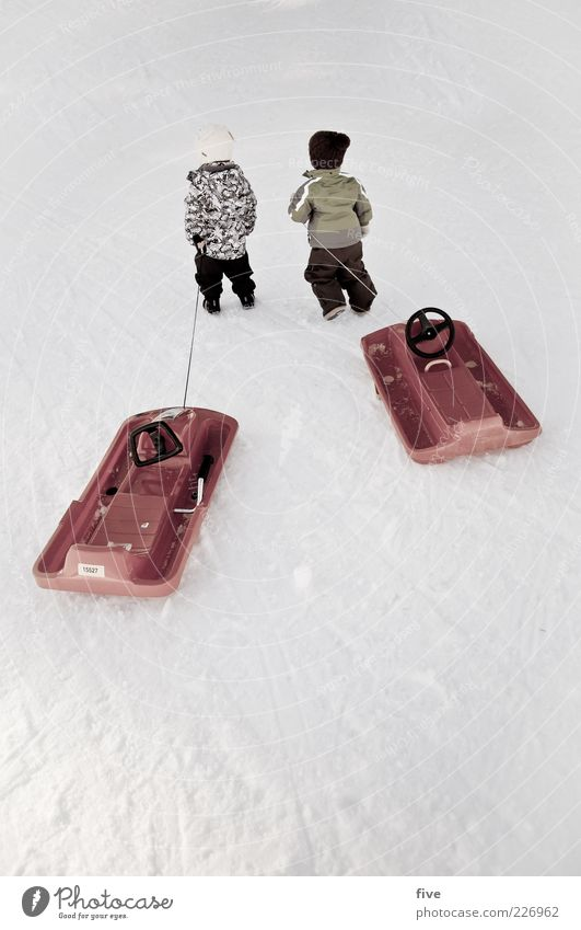Human being Child Nature Joy Winter Cold Life Snow Boy (child) Playing Going Friendship Leisure and hobbies Ice Infancy Trip