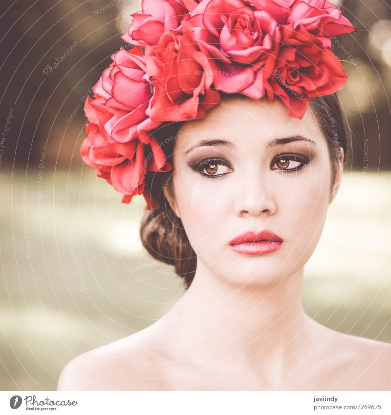 Beautiful japanese woman with pink and red flowers in hair Woman Human being Nature Youth (Young adults) Young woman Flower Red Face Adults Feminine Grass