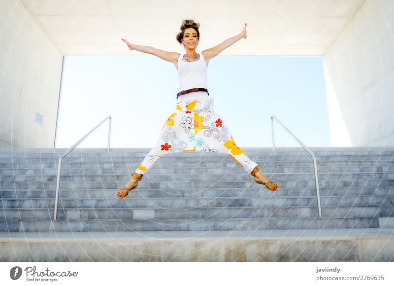 Young funny woman jumping in urban steps Woman Human being Youth (Young adults) Young woman Joy 18 - 30 years Adults Life Lifestyle Healthy Emotions Feminine