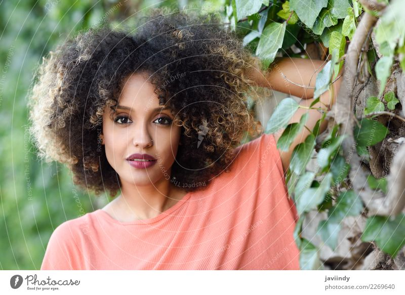 Mixed woman with afro hairstyle standing in an urban park Lifestyle Style Beautiful Hair and hairstyles Face Human being Young woman Youth (Young adults) Woman