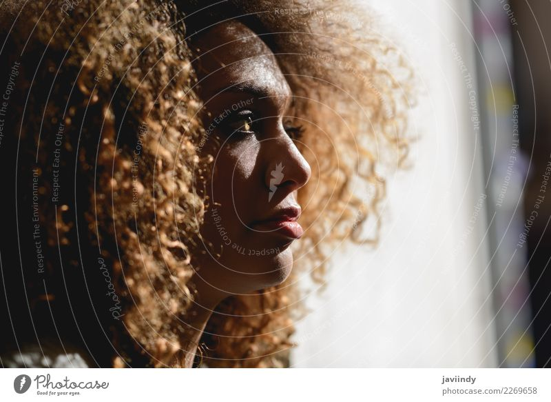Close-up portrait of young African American woman with afro hairstyle and green eyes Elegant Beautiful Hair and hairstyles Face Human being Feminine Young woman