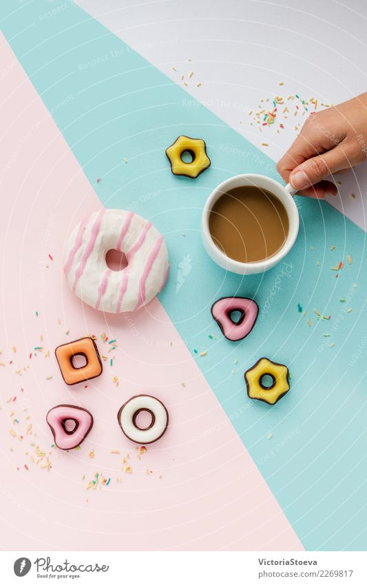 Coffee, colorful cookies, donut and sprinkles flat lay Woman Colour Joy Eating Adults Lifestyle Style Business Food Fashion Feasts & Celebrations Pink Above