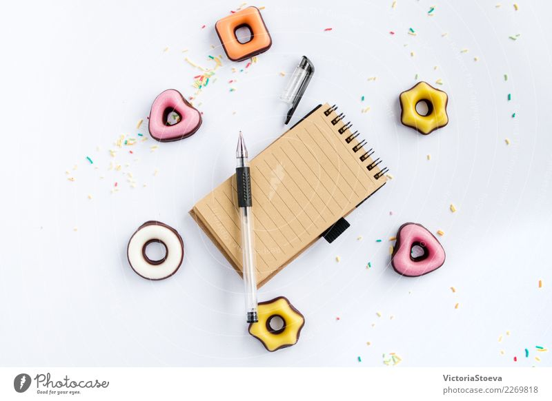 Opened notebook with pen. Flat lay Colour White Flower House (Residential Structure) Joy Eating Life Yellow Lifestyle Wood Style Business Food Fashion Pink