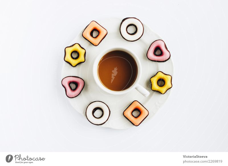 Minimalistic concept.Top view flat lay Food Dessert Candy Chocolate Eating Breakfast Lunch To have a coffee Drinking Hot drink Coffee Latte macchiato Espresso