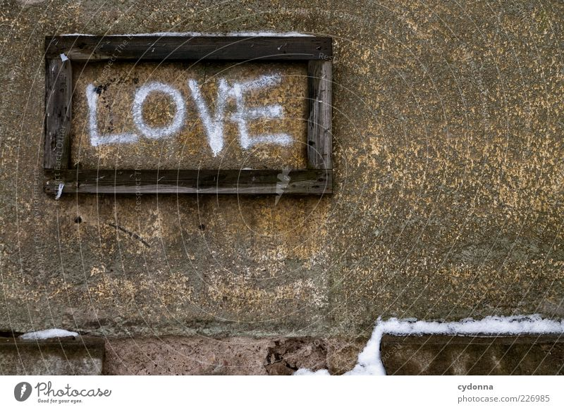 Winter Love Wall (building) Snow Emotions Graffiti Wall (barrier) Signs and labeling Esthetic Characters Hope Uniqueness Exceptional Desire Transience