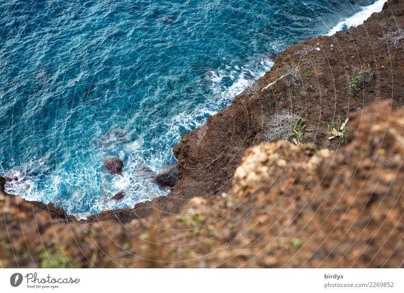 Madeira blue - Cliff Elements Beautiful weather Rock Waves Coast Reef Ocean Atlantic Ocean Island Maritime Blue Brown Esthetic Nature Risk Volcanic island Above