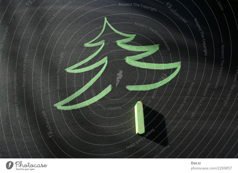late christmas Christmas & Advent Sign fir tree Draw Green Black Chalk drawing Blackboard Christmas tree Colour photo Studio shot Deserted Copy Space left