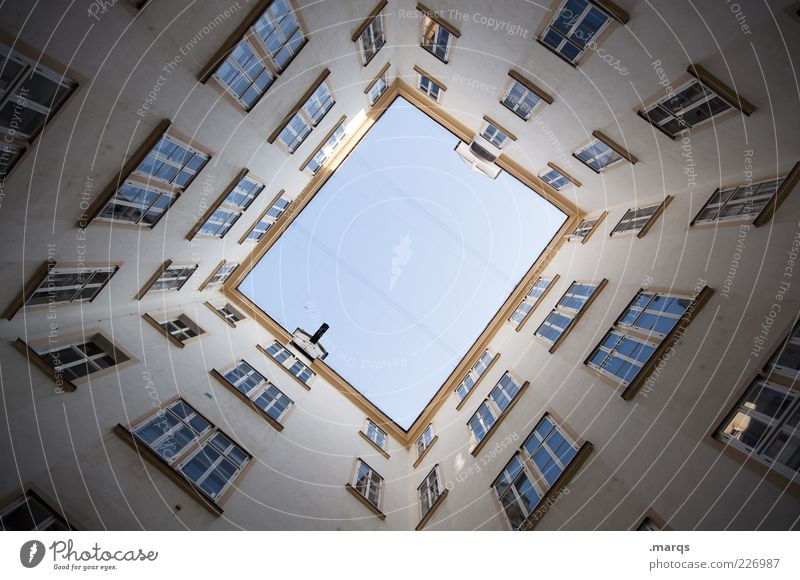 Window Architecture Building Facade Tall Large Perspective Symmetry Vienna Rectangle Interior courtyard Cloudless sky Skyward