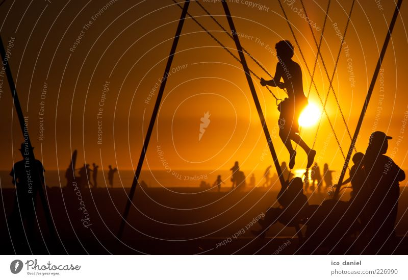 Human being Child Sun Joy Yellow Playing Boy (child) Movement Group Leisure and hobbies Gold Rope Happiness Lifestyle Americas Swing
