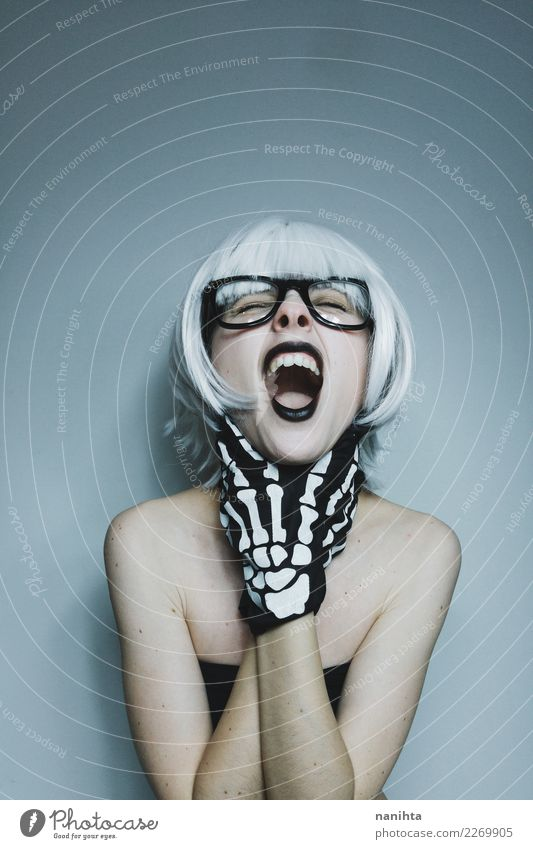 Young weird woman screaming Design Exotic Face Human being Feminine Young woman Youth (Young adults) 1 18 - 30 years Adults Eyeglasses Gloves White-haired