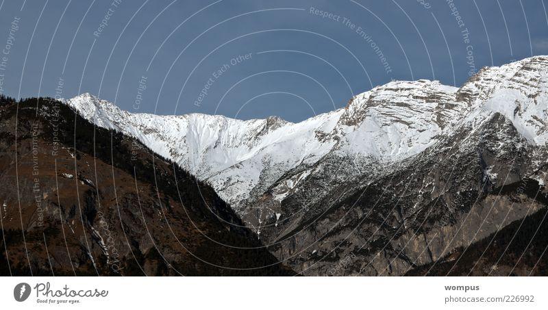 Sky Nature Green Blue White Far-off places Mountain Landscape Gray Rock Hill Alps Peak Valley Blue sky Snowcapped peak