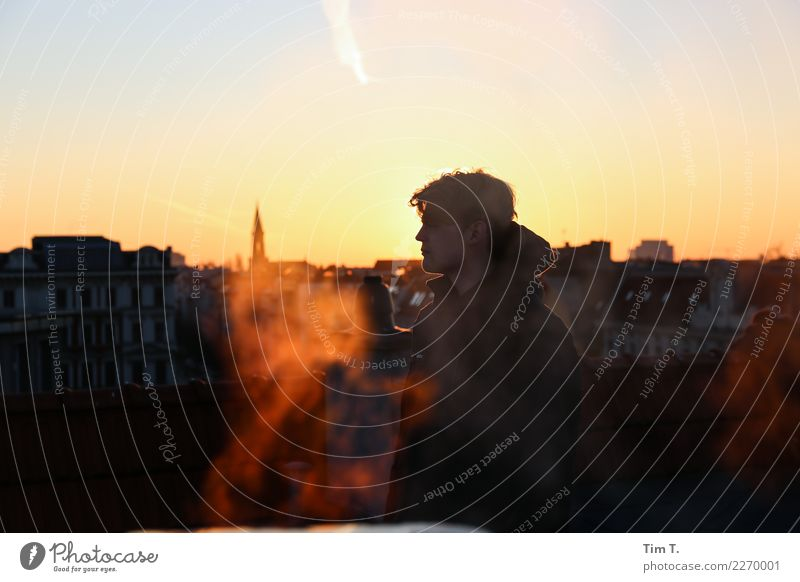 sunset Human being Masculine Young man Youth (Young adults) 1 18 - 30 years Adults Berlin Prenzlauer Berg Town Capital city Downtown Old town Skyline Roof