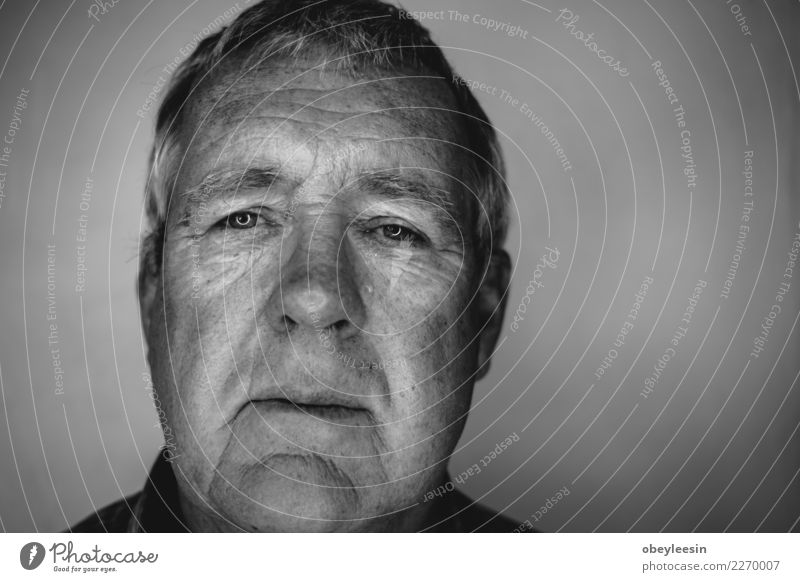 Close up face portrait Older Face Human being Man Adults Grandfather Hand Think Sadness Natural Gray Black White Loneliness Fear Middle head sad people