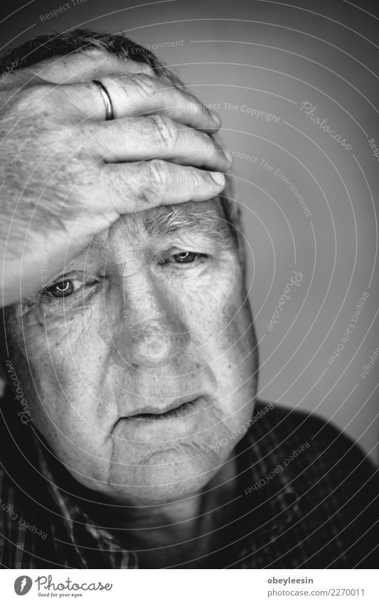 Close up face portrait Older depressed man Face Human being Man Adults Grandfather Hand Think Sadness Natural Gray Black White Loneliness Fear Middle head sad