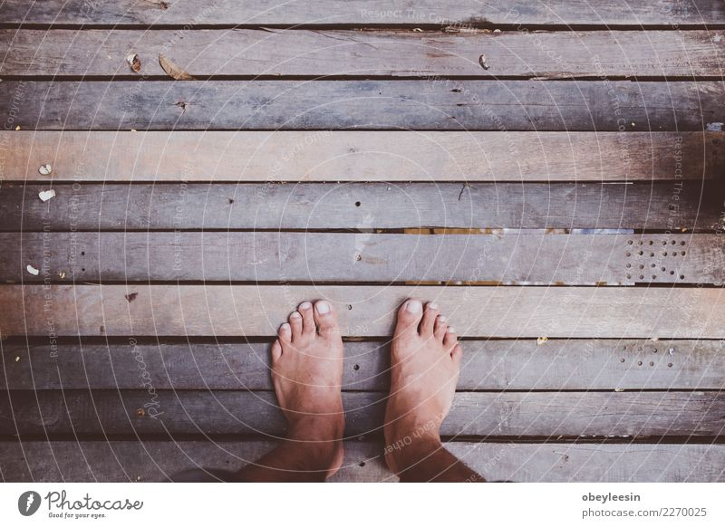 Looking down on feet and a wooden Feet Nature Building Footwear Wood Old Dark Natural Above Retro Brown Colour Surface Story Blank sign light element hardwood