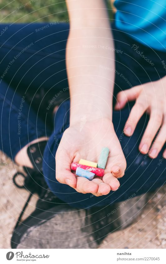 hand holding color chalks Lifestyle Design Hand Parenting Education Kindergarten Schoolchild Student Teacher Human being Feminine Androgynous Young woman