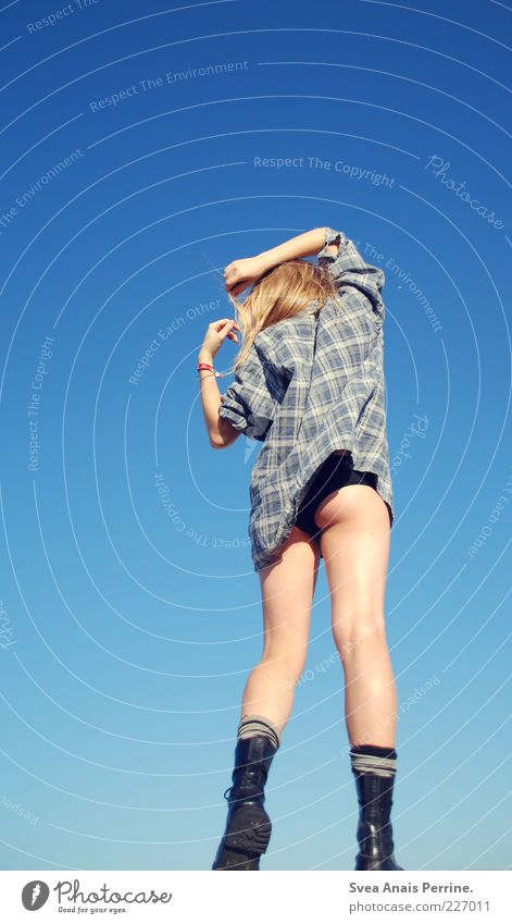 Blue. Lifestyle Feminine Young woman Youth (Young adults) Bottom Legs 1 Human being 18 - 30 years Adults Beautiful weather Shirt Underwear Hair and hairstyles