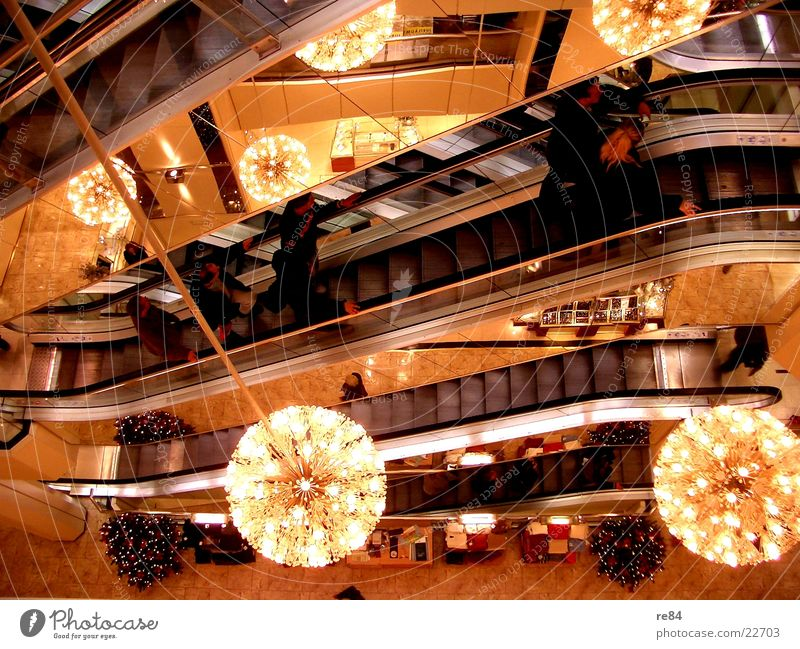 Human being Life Architecture Transport Bundle Fairy lights Escalator Shopping center Enliven Mall