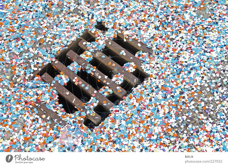 confetti Blue Multicoloured Confetti Channel Drainage system Lie Paper Street Happiness Snippets Chaos Floor covering Ground Under Colour photo Exterior shot