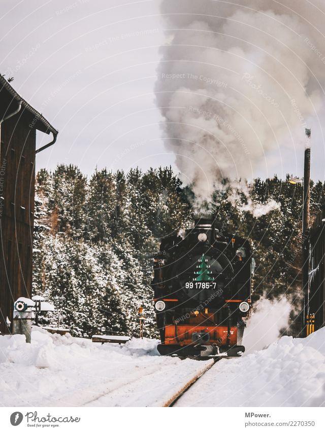 Old Winter Transport Technology Railroad Smoke Traffic infrastructure Railroad tracks Passenger traffic Machinery Means of transport Steam Engines Platform