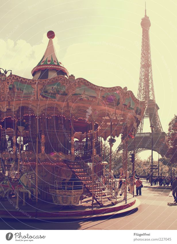 Oh là là! Beautiful weather Rotate Carousel Hobbyhorse Paris Vintage Eiffel Tower France Vacation & Travel Human being Culture Capital city Joy Playing