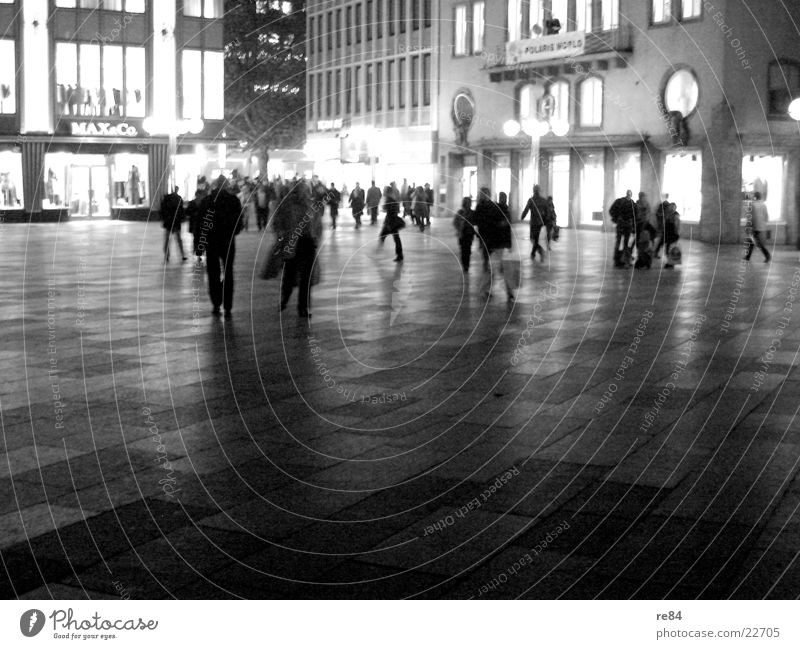 domplatte by night! Night Human being Action Light Black White Life Shopping Multiple Lighting Illuminate Bright Group Crowd of people Contrast Open Many Fate