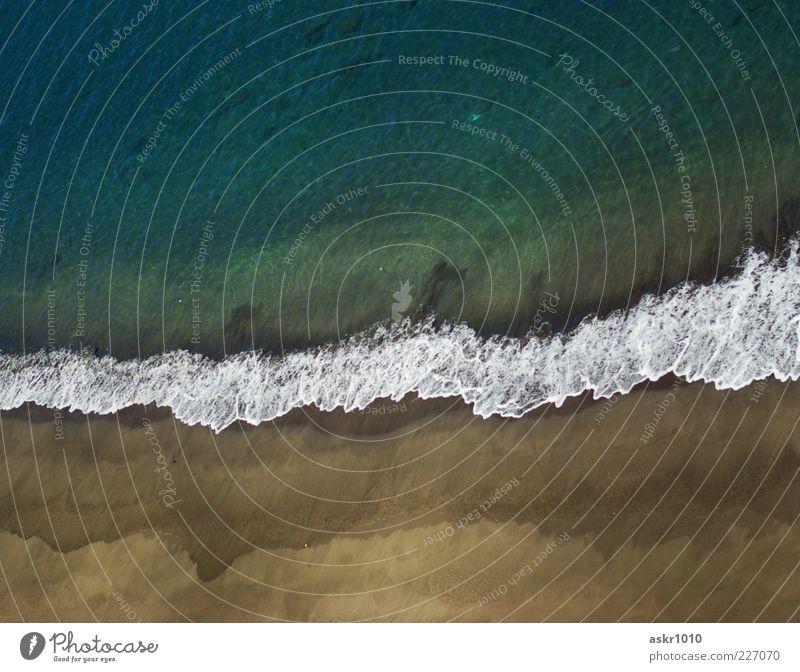 Longing in Azur Harmonious Calm Fragrance Freedom Summer Beach Ocean Waves Sand Coast Esthetic Blue Pure Colour photo Exterior shot Aerial photograph Abstract
