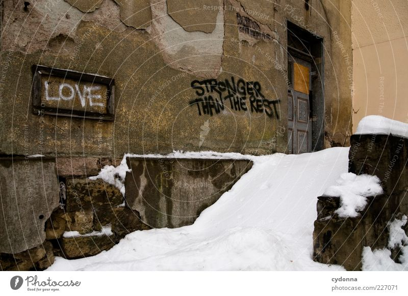 Winter Loneliness House (Residential Structure) Life Snow Wall (building) Graffiti Emotions Style Wall (barrier) Dream Door Ice Facade Signs and labeling Stairs