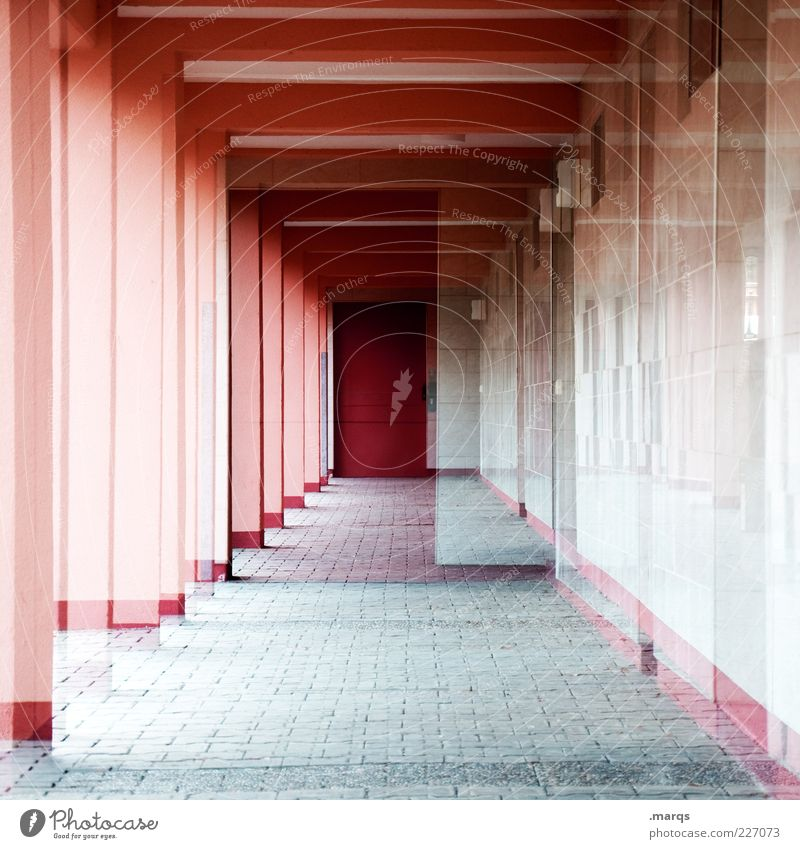 corridor Style Deserted Manmade structures Architecture Apartment house Door Hallway Column Concrete Exceptional Cool (slang) Sharp-edged Crazy Red Perturbed