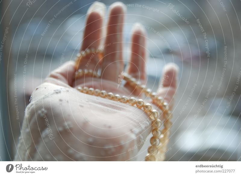 Tand with human hand Feasts & Celebrations Feminine Hand Fingers Cloth Lace Gloves Glittering Round Anticipation Pearl necklace Bride Blur Delicate Colour photo