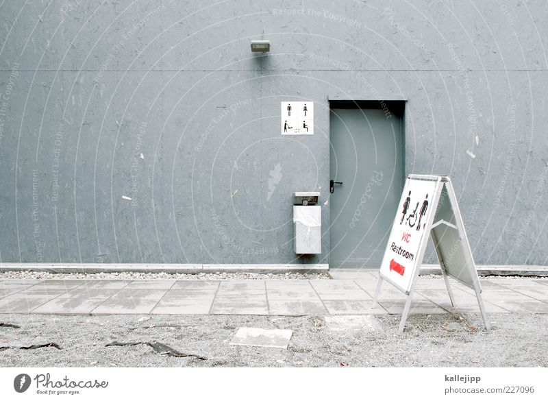 Human being House (Residential Structure) Wall (building) Gray Door Open Signs and labeling Masculine Characters Signage Arrow Toilet Direction Trash container