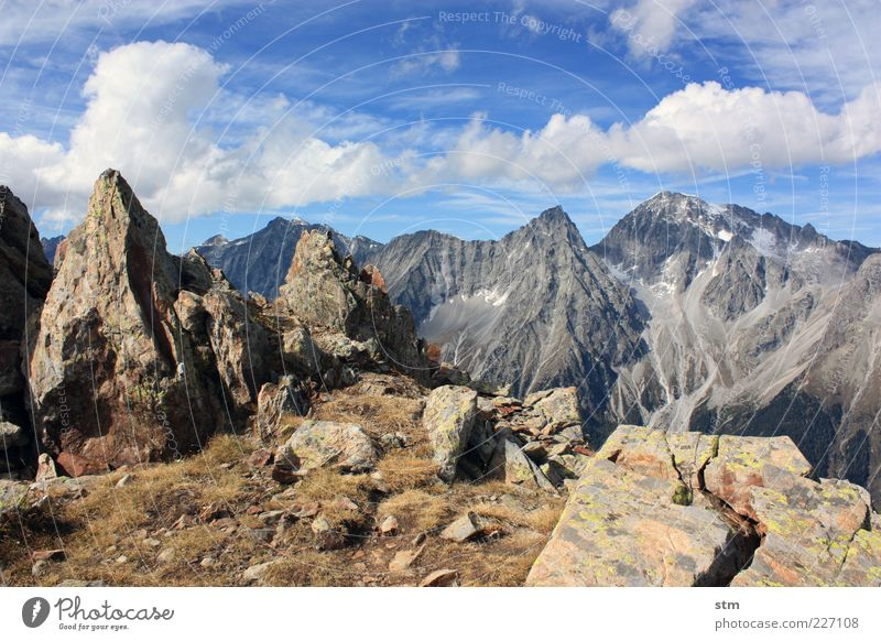 small and large peaks Environment Nature Landscape Plant Elements Earth Sky Clouds Autumn Beautiful weather Grass Moss Lichen Hill Rock Alps Mountain Peak