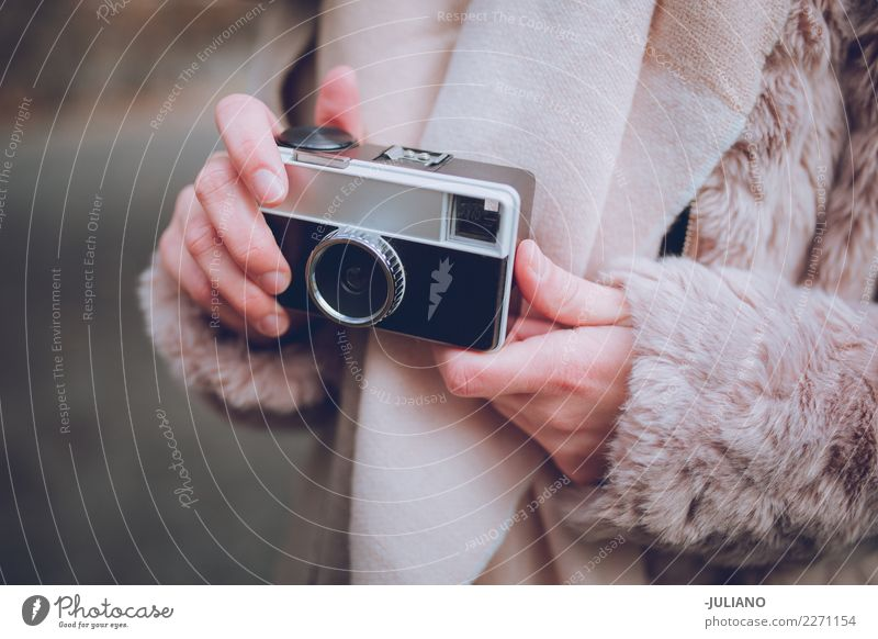 Close up of hands holding analog camera Winter Human being Peoples Cold City life Camera Photographer Modern Retro Lifestyle Blog