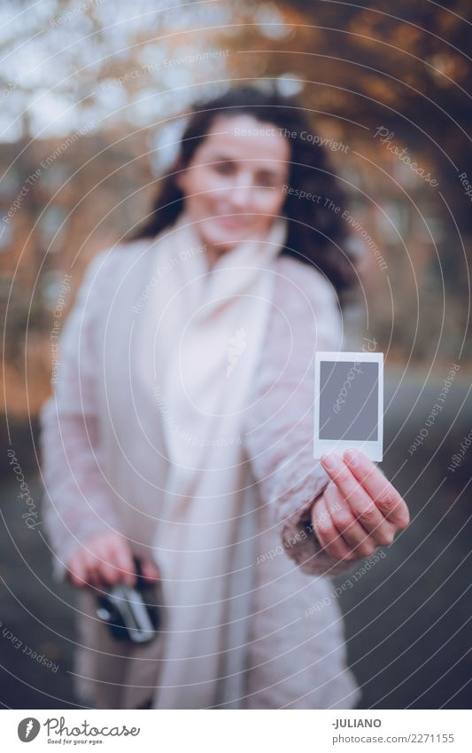 Close up of Polaroid held by a young woman in fall Woman Human being Youth (Young adults) Young woman Winter 18 - 30 years Adults Life Lifestyle Autumn Love