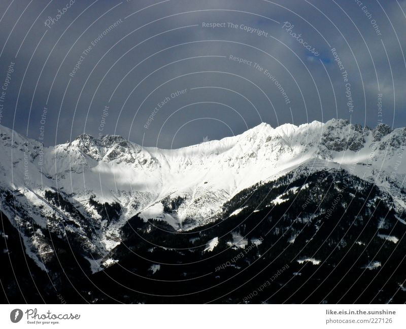 black-and-white thinking Environment Landscape Elements Sky Winter Climate Beautiful weather Ice Frost Snow Alps Mountain Peak Snowcapped peak Infinity Cold