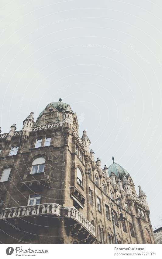 Magnificent residential building in Budapest Town Capital city Facade Balcony Living or residing Decline Architecture Splendid Building Tower Sky Covered