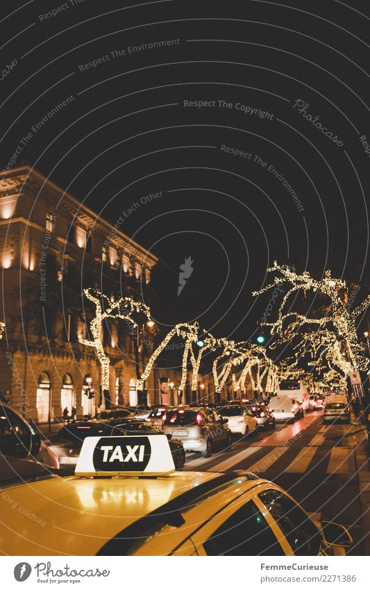 Yellow cab on street at night in Budapest Transport Means of transport Traffic infrastructure Passenger traffic Road traffic Motoring Street Logistics Taxi