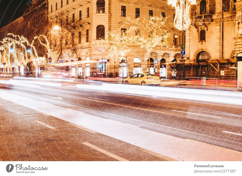 Street in Budapest at night using time exposure Transport Means of transport Traffic infrastructure Passenger traffic Public transit Rush hour Road traffic