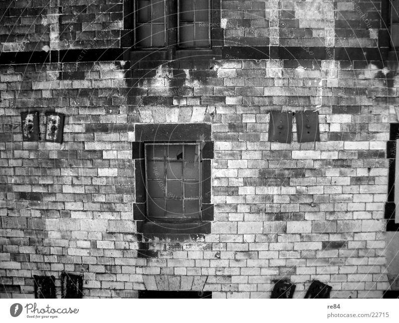 the decay Decline Precarious Wall (barrier) Wall (building) Ruin Rip Masonry Cologne Dismantling Broken Retro Gray Gloomy Century Transform Window Empty Black