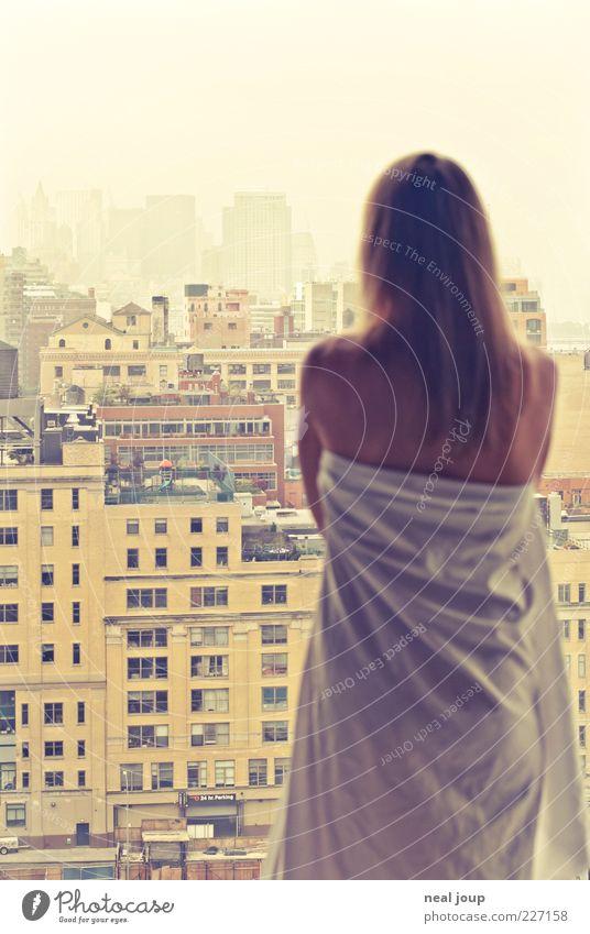 good morning manhattan -2-! Lifestyle Elegant Style Contentment Feminine Woman Adults 1 Human being Horizon New York City Manhattan Skyline High-rise