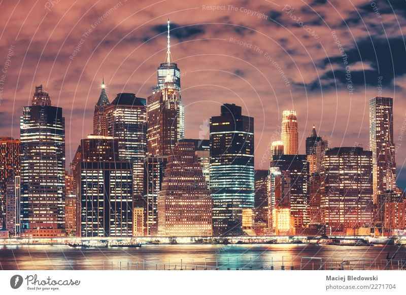 New York City skyline at night, USA. Office River Town Downtown Skyline Overpopulated High-rise Bank building Building Architecture Landmark Exceptional Elegant
