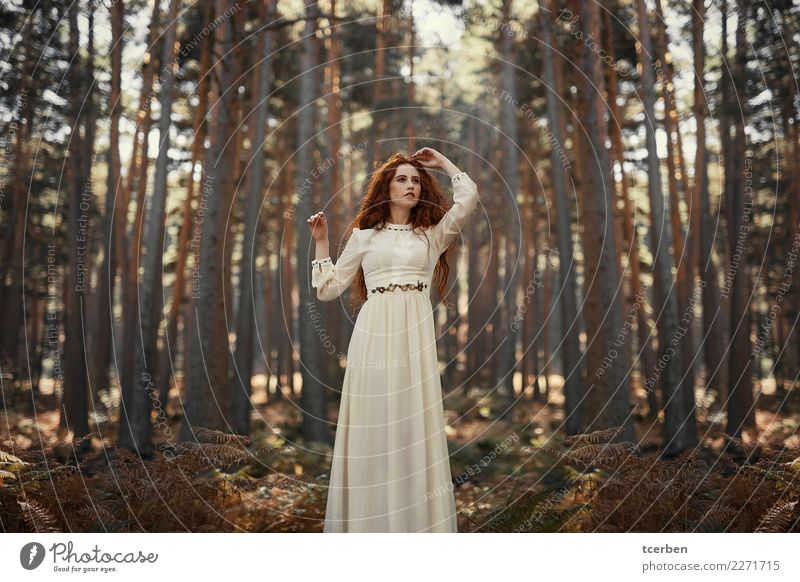Young pretty redhead woman with vintage dress in the forest Human being Nature Youth (Young adults) Young woman Beautiful White Landscape Tree Loneliness Calm