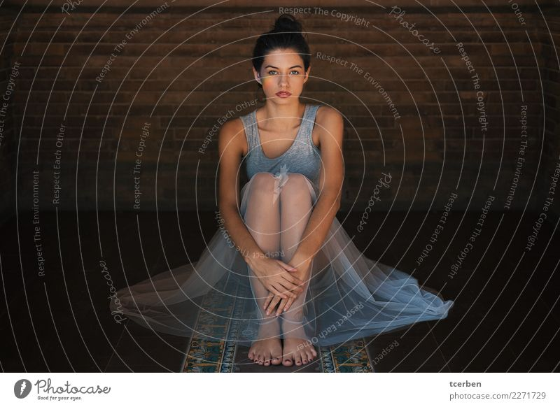 Sitting woman dressed as ballerina with rainbow light in her eye Human being Youth (Young adults) Young woman Town Beautiful Colour Eroticism Calm