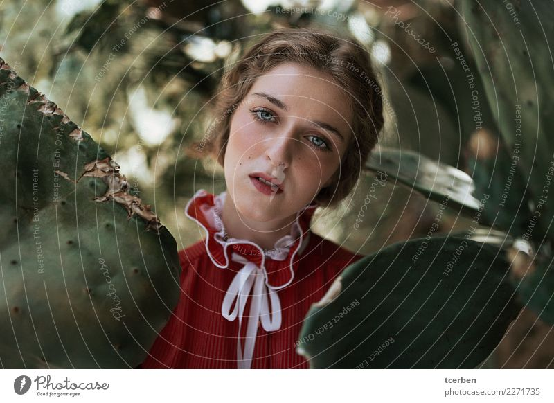Portrait of melancholic woman wearing a vintage red dress Human being Youth (Young adults) Old Young woman Beautiful Red Loneliness Calm 18 - 30 years Adults