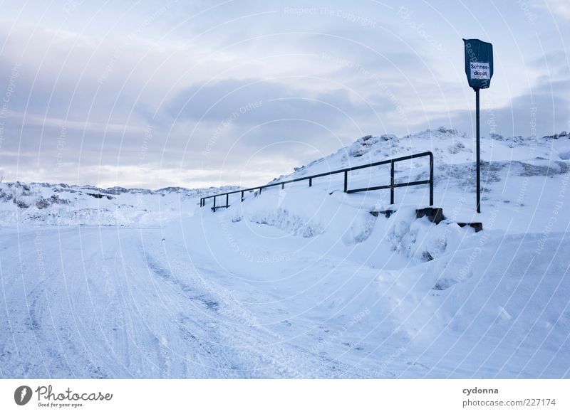 Welcome to the snow depot Environment Nature Landscape Sky Winter Ice Frost Snow Mountain Street Lanes & trails Esthetic Loneliness Uniqueness Idea Calm