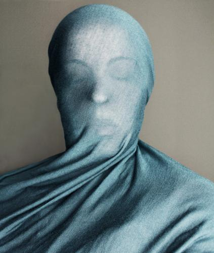 sculpture Style Human being Feminine Woman Adults Head 1 Blue Rag Sculpture Packaged Vail Unclear Sheath Cloth Motionless Colour photo Interior shot Closed eyes